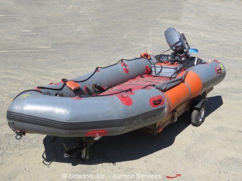 Zodiac Minuteman 420 Inflatable Rescue Boat Yamaha 25Hp Outboard w/ Trailer for sale